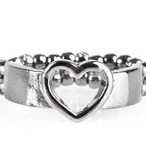 SKIPPING HEARTBEATS GUNMETAL RING